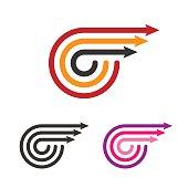 Logo Template Set. Three Arrows. Line Style Logotype. Vector.