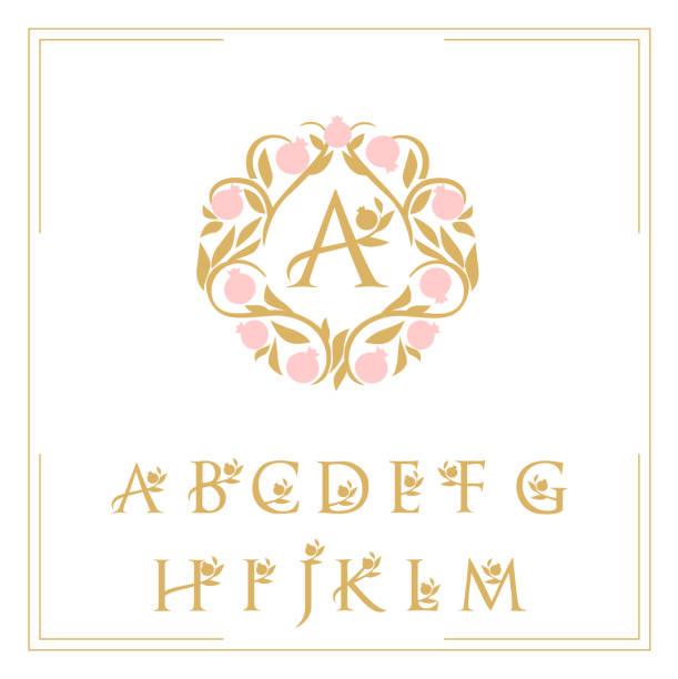 logo-vorlage die buchstaben sind mit einem muster gerahmt - monogrammarten stock-grafiken, -clipart, -cartoons und -symbole