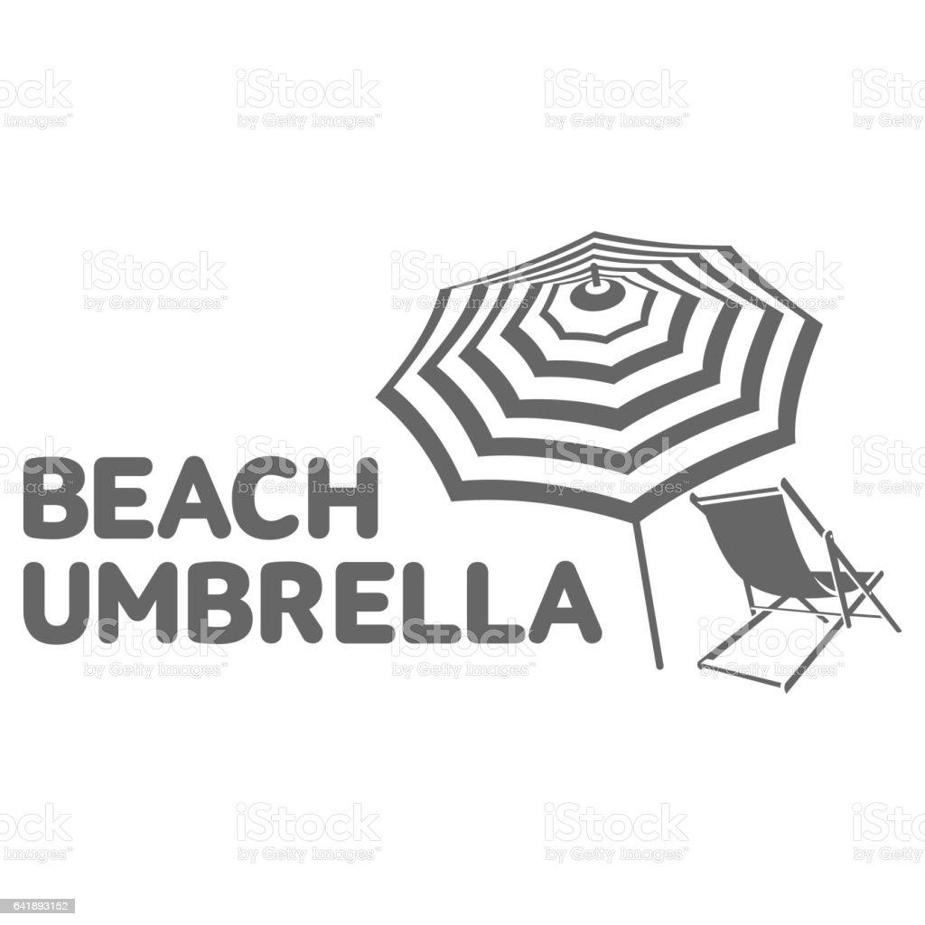 Logo template with beach umbrella and sun bathing lounge chair vector art illustration