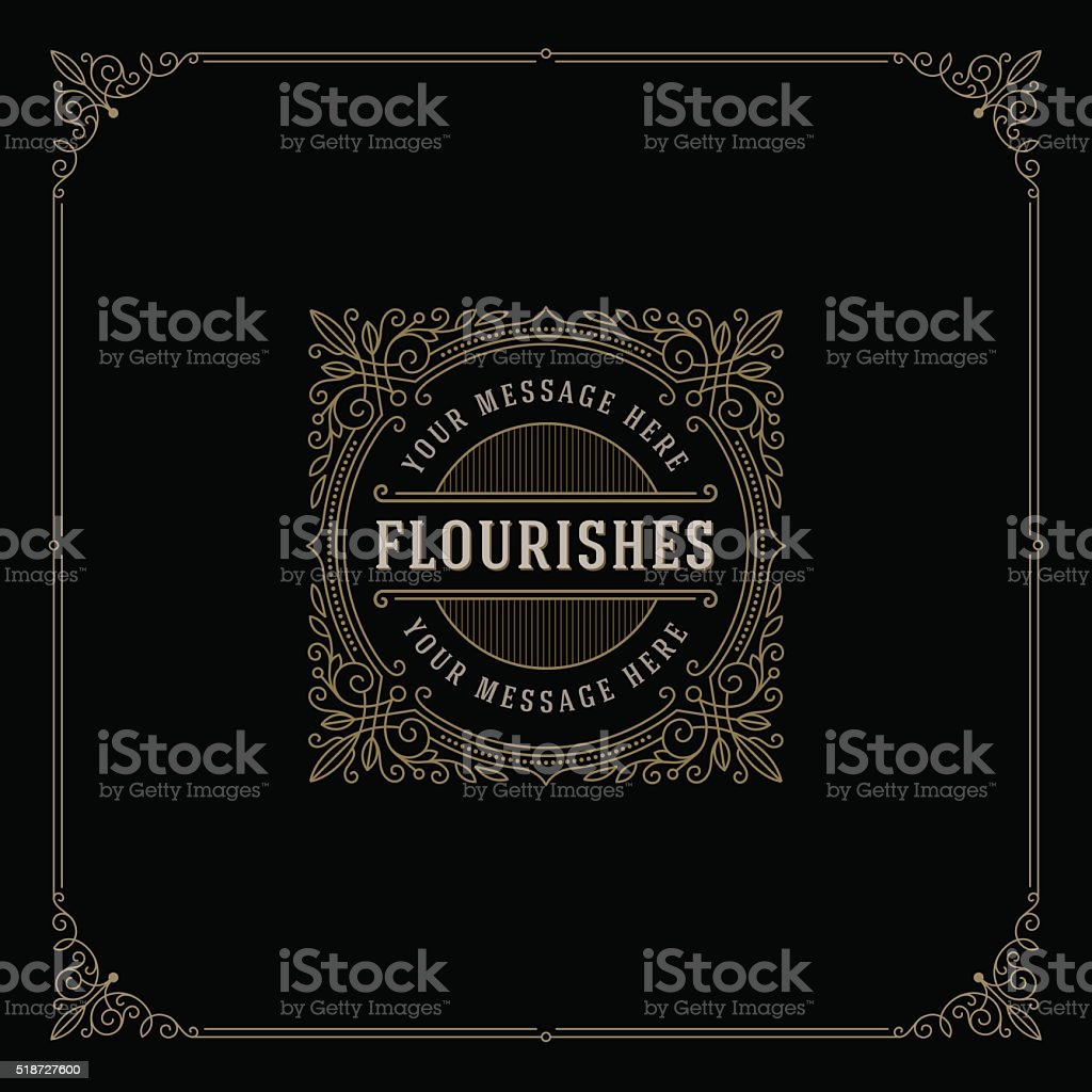 Logo template with flourishes calligraphic elegant ornament elements vector art illustration