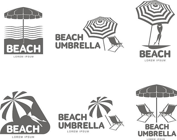 Logo templates with beach umbrella and sun bathing lounge chairs Logo templates with beach umbrella and sun bathing lounge chairs, vector illustration isolated on white background. Black and white graphic logotypes, logo templates with sunshade umbrellas outdoor chair stock illustrations