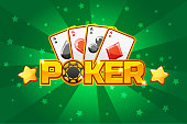 logo text POKER and Playing cards, For Ui Game element. Green background glow