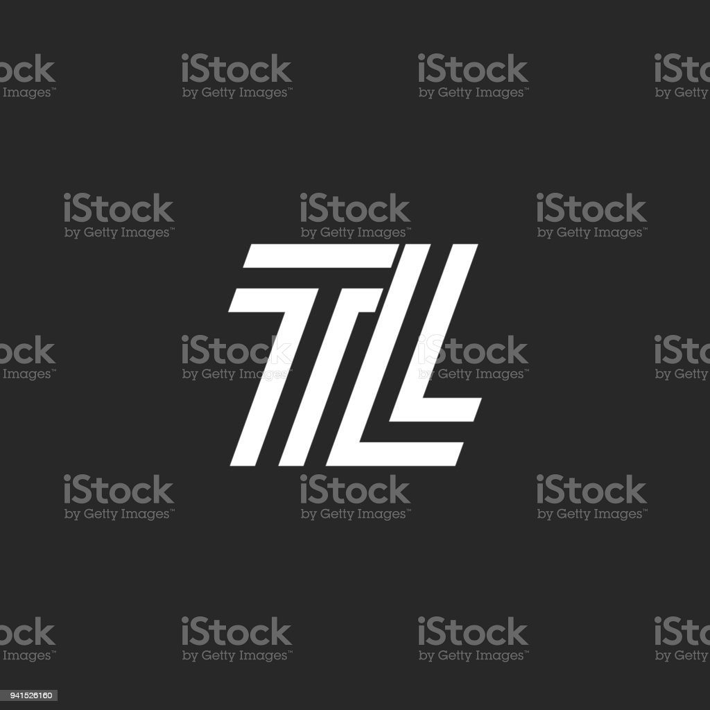 Logo TL monogram letter logo, black and white parallel lines creative initials LT, simple two letters T and L emblem vector art illustration