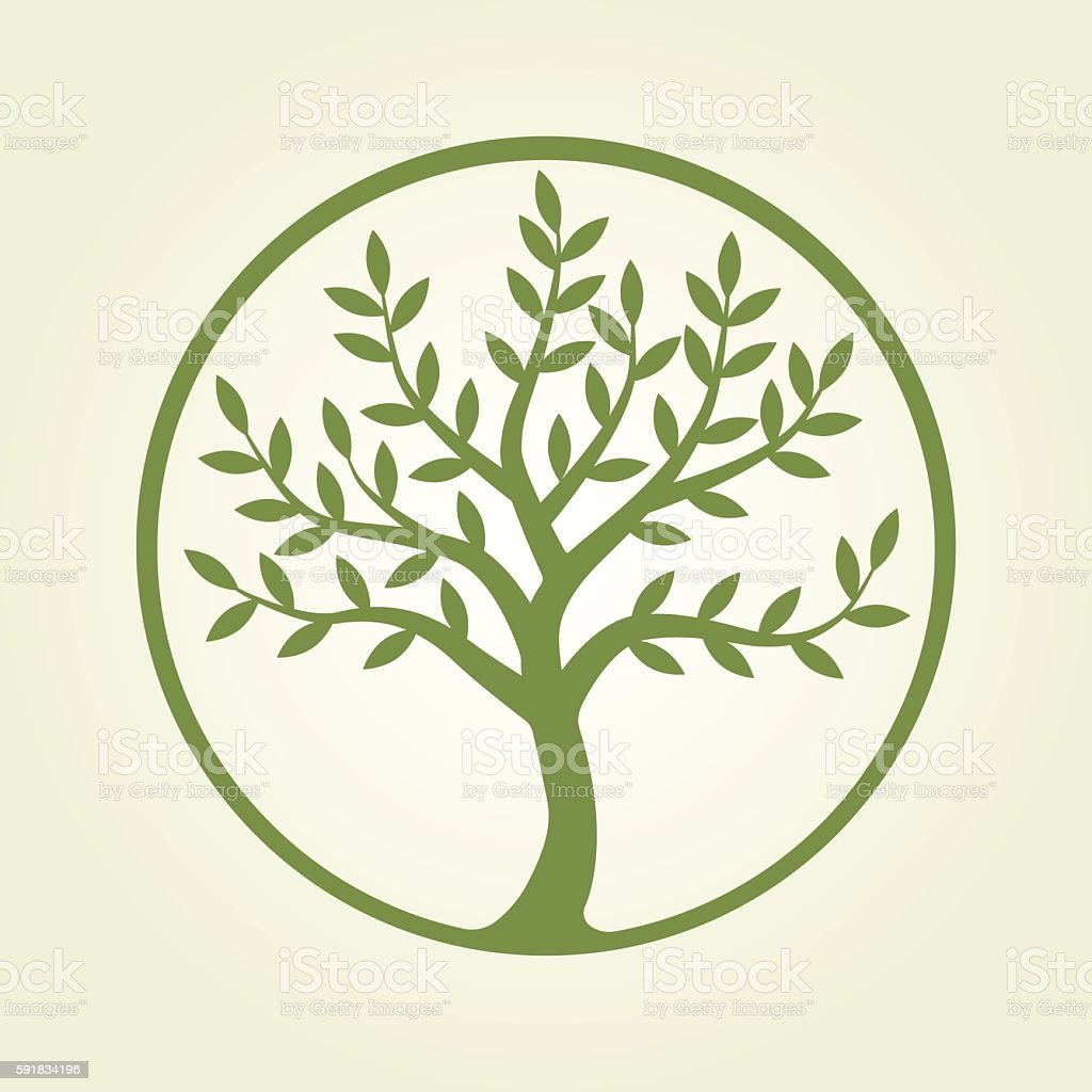 Logo tree, green circle – Vektorgrafik