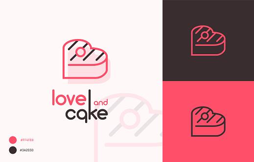 Logo vector illustration Love and cake