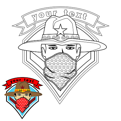 logo vector with a man, coloring page or book