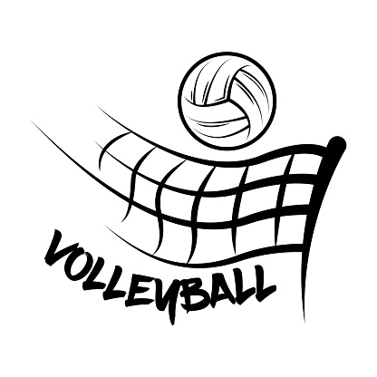 Logo Volleyball made with a drawing style. Volleyball ball fly over a volleyball net.