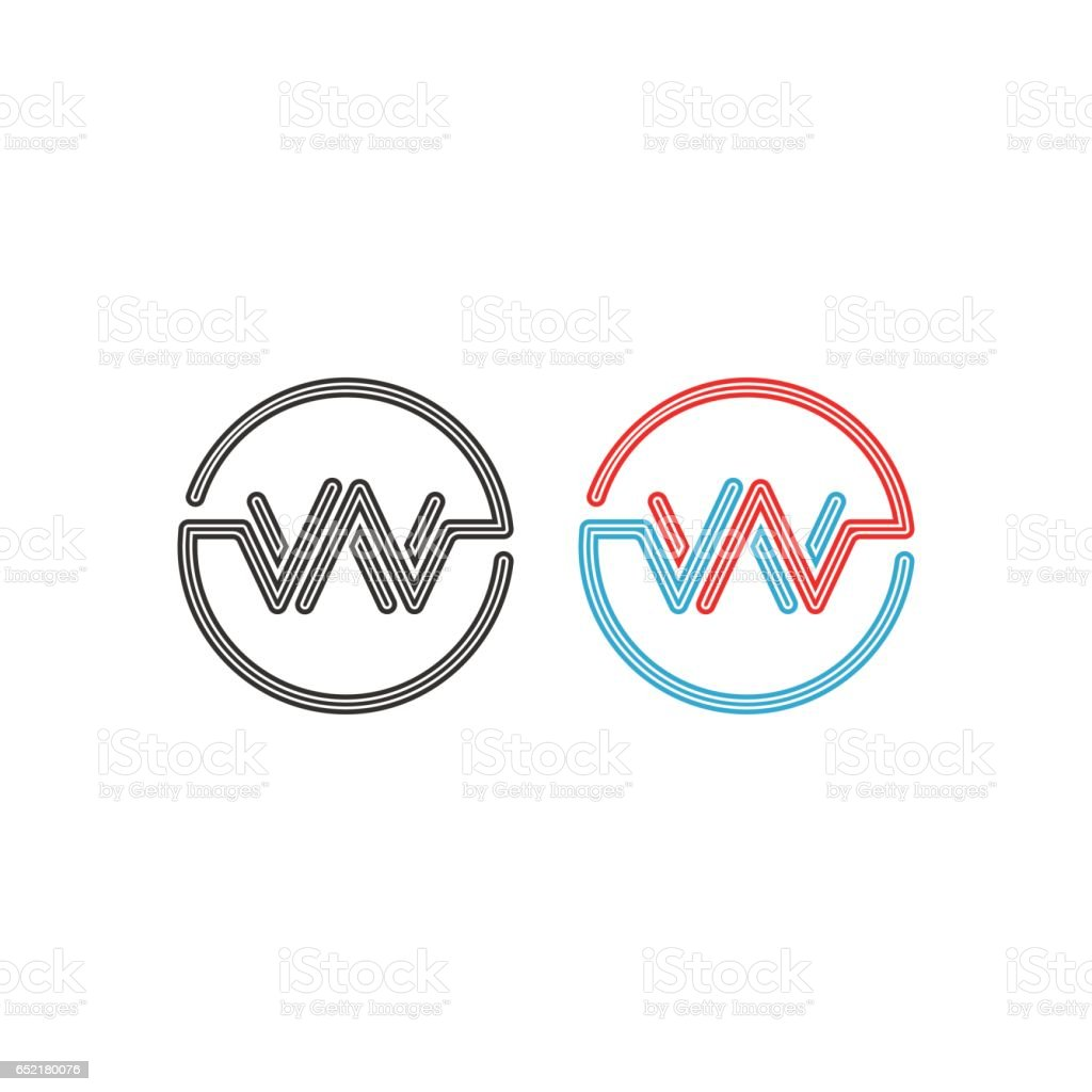 Logo de W, intersection lettres WW cercles cadre monogramme, impulsion abstraite vague forme ronde frontière - Illustration vectorielle