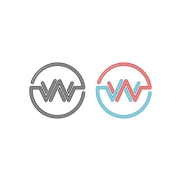 illustrations, cliparts, dessins animés et icônes de logo de w, intersection lettres ww cercles cadre monogramme, impulsion abstraite vague forme ronde frontière - polices ligne fine