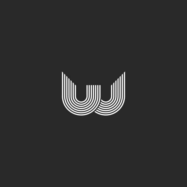Logo W letter monogram smooth thin parallel lines creative design element, idea identity initial emblem Logo W letter monogram smooth thin parallel lines creative design element, idea identity initial emblem w logo stock illustrations