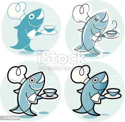 istock Logo with a laughing fish serving food 147638696