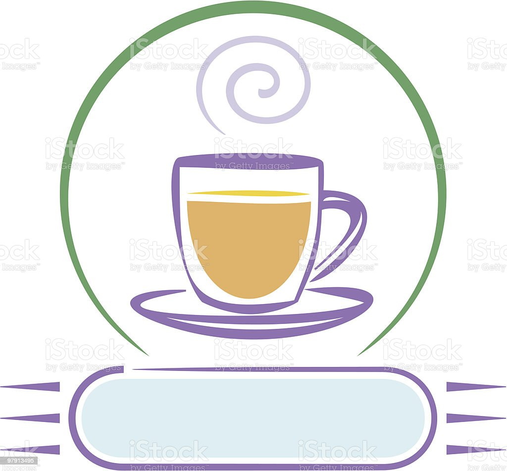 Logo with Cup of Coffee (Vector) royalty-free logo with cup of coffee stock vector art & more images of black color