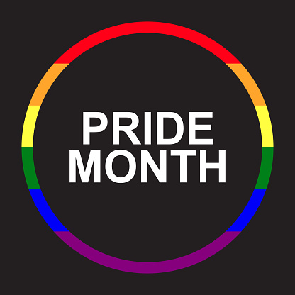 Logo with LGBT and homosexual pride celebration concept. Template with colored in six rainbow color. Graphic element isolated on black background