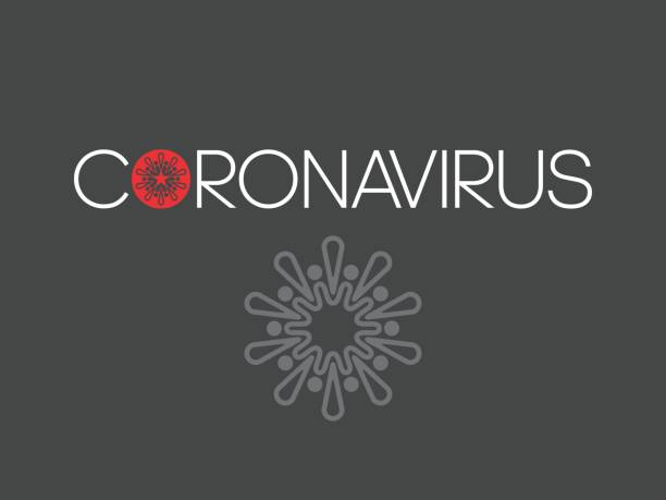 Logo with the text coronary virus. The first letter shows the virus. Logo with the text coronary virus. The first letter shows the virus. Vector. sudden acute respiratory syndrome stock illustrations
