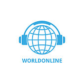 Logo world globe in headphones concept of work from home and learning online.