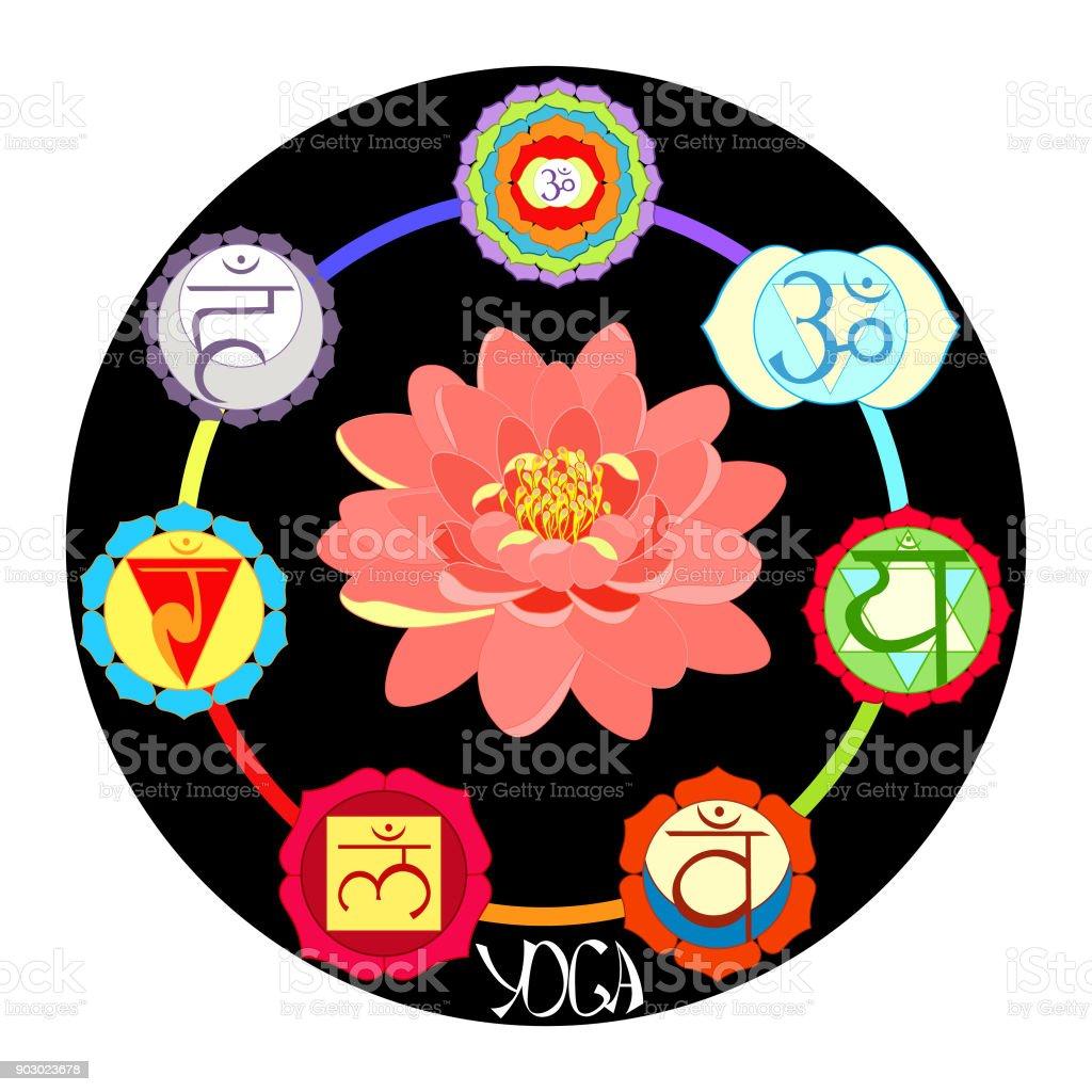 Logo Yoga Chakra With Lotus Flower Vector Illustration Stock Vector
