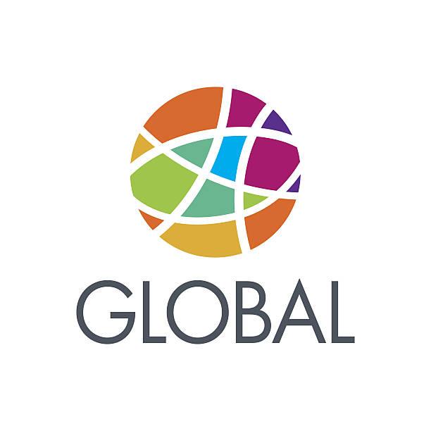 logo_earth-global-community-3 - global communications stock illustrations, clip art, cartoons, & icons