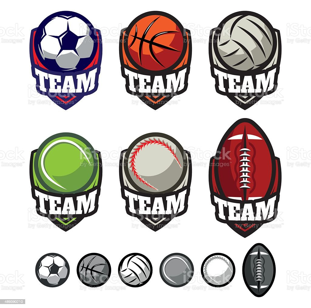logos for sports teams with different balls vector art illustration