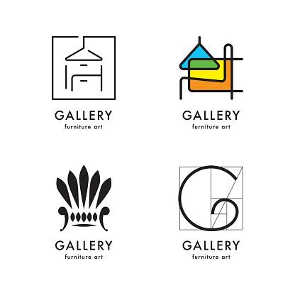 Logotyper Galleri Möbler Set-vektorgrafik och fler bilder på Abstrakt