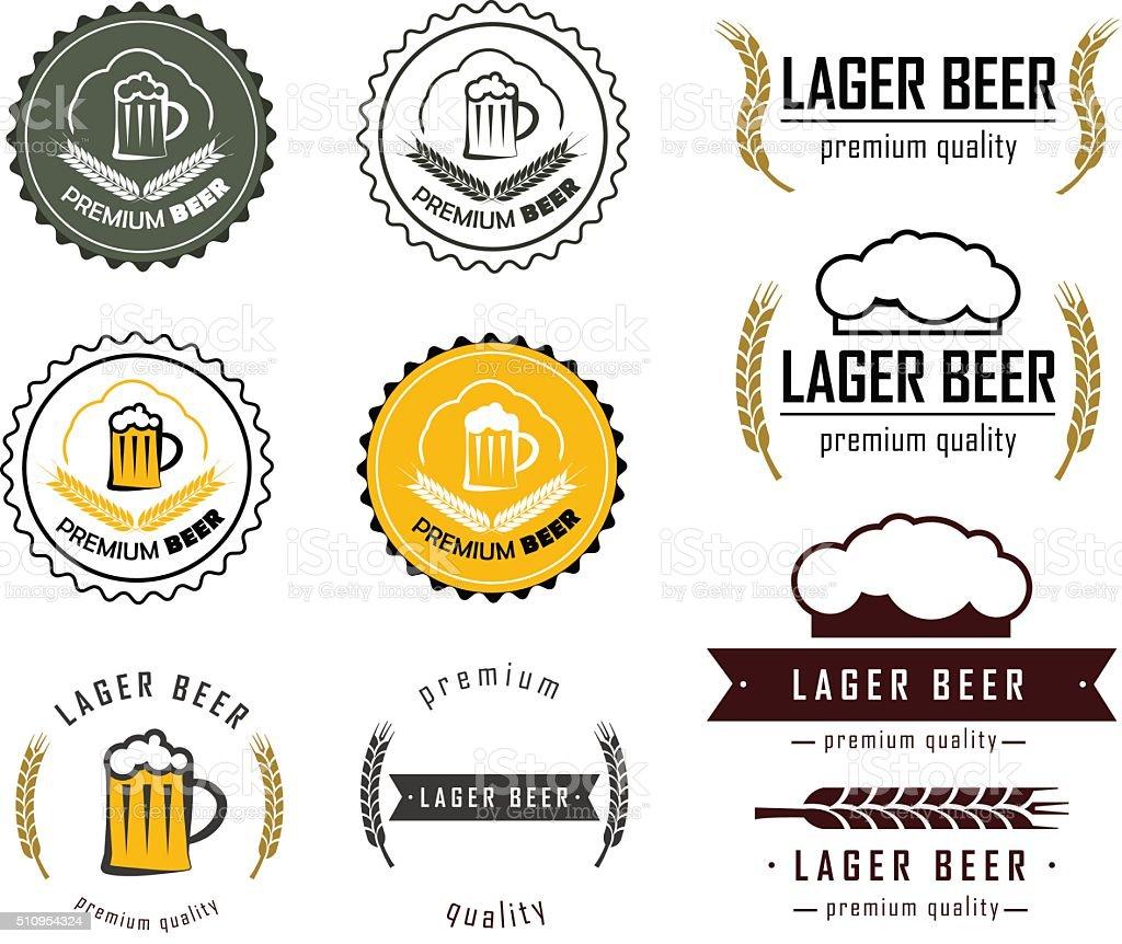 logos of beer set vector art illustration