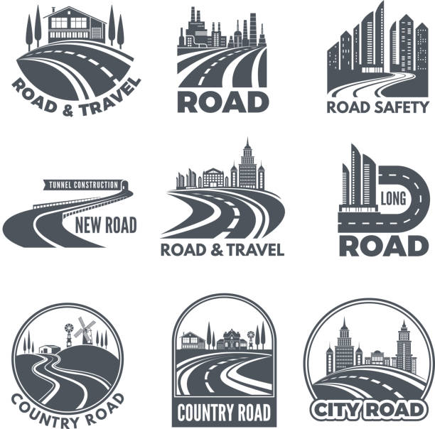 Logos with curved pathways and place for your text Logos with curved pathways and place for your text. Road asphalt curve, highway and pathway for transportation illustration vector urban road stock illustrations