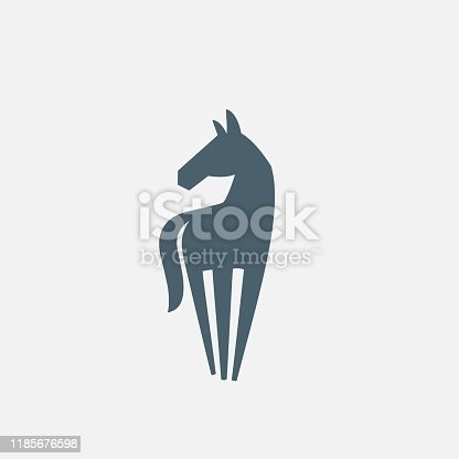 Horse icon, logo. Silhouette on white background. Vector illustration