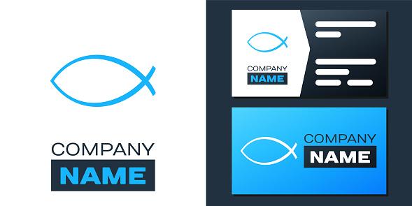 Logotype Christian fish symbol icon isolated on white background. Jesus fish symbol. Logo design template element. Vector
