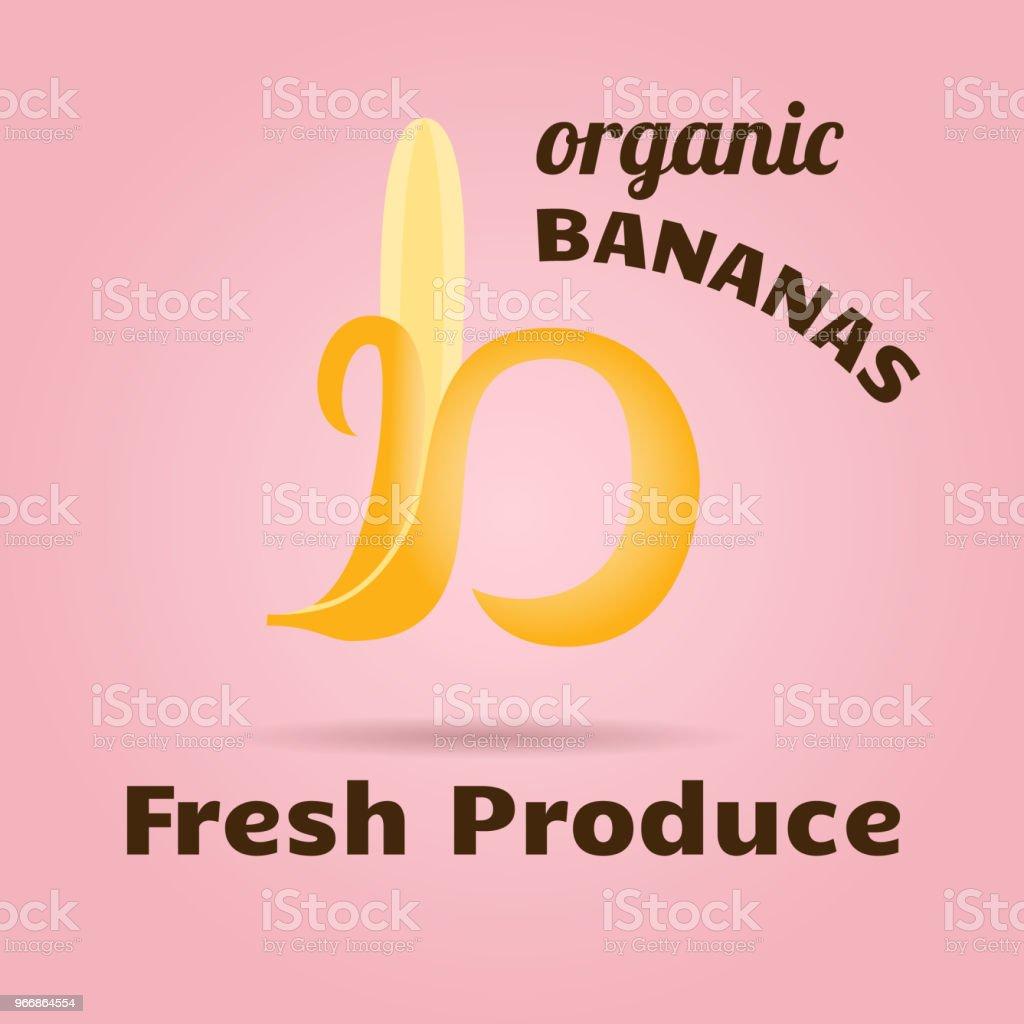 Logotype Design Banana In Shape Of Letter B For Organic Produce ...