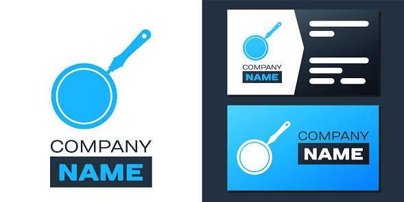 Logotype Frying pan icon isolated on white background. Logo design template element. Vector