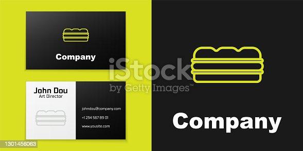 istock Logotype line Sandwich icon isolated on black background. Hamburger icon. Burger food symbol. Cheeseburger sign. Street fast food menu. Logo design template element. Vector 1301456063