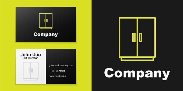 Logotype line Wardrobe icon isolated on black background. Logo design template element. Vector