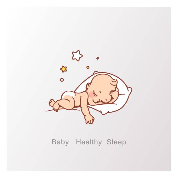 bildbanksillustrationer, clip art samt tecknat material och ikoner med logotyp av söta lilla pojke eller flicka sova. - baby sleeping