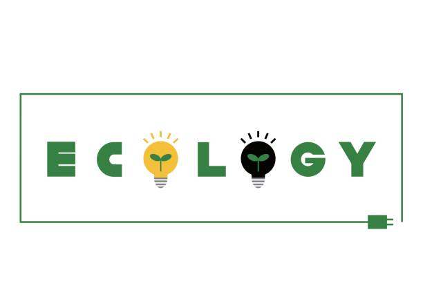 logotype of ecology(power saving) - electrical wiring home stock illustrations, clip art, cartoons, & icons