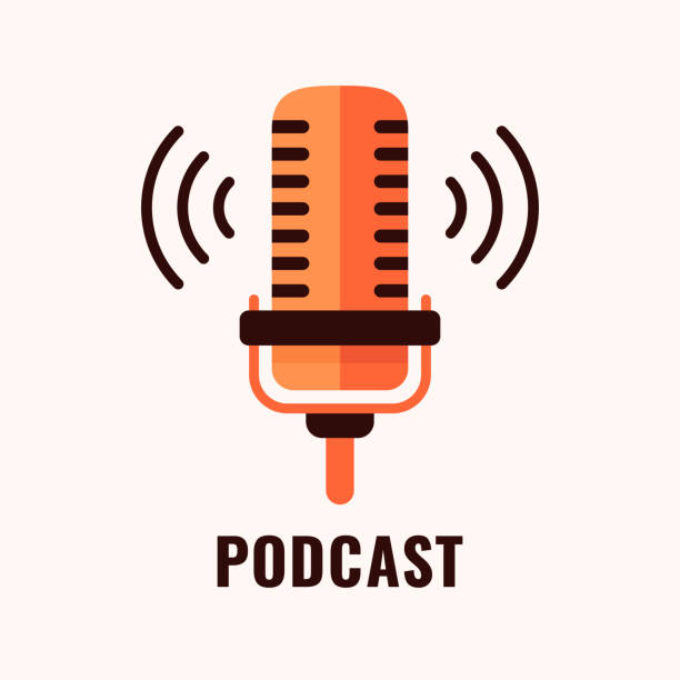 podcast-logo. - mikrofon stock-grafiken, -clipart, -cartoons und -symbole