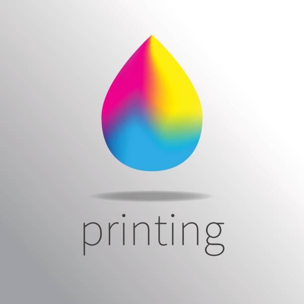 illustrazioni stock, clip art, cartoni animati e icone di tendenza di logotype printing - cmyk
