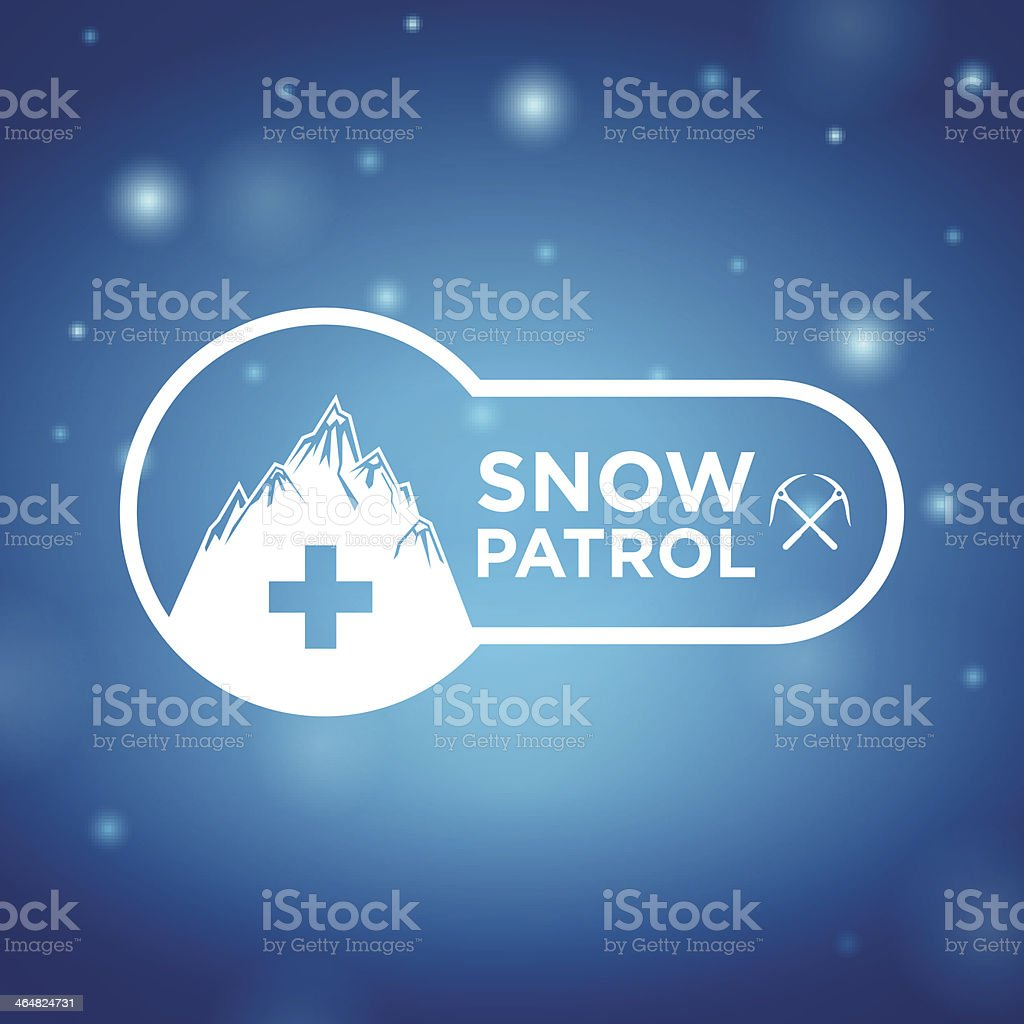 logotype snow patrol on blue background royalty-free logotype snow patrol on blue background stock vector art & more images of assistance
