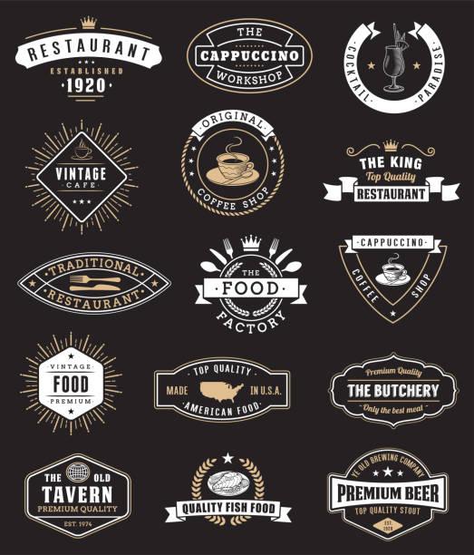 logotypy i odznaki dla restauracji - przypinka stock illustrations