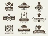 Logotypes and badges for restaurant of set. Vector traditional emblem for menu cafe illustration