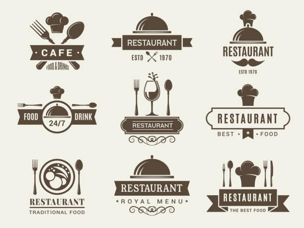 logos und abzeichen für das restaurant - restaurant stock-grafiken, -clipart, -cartoons und -symbole