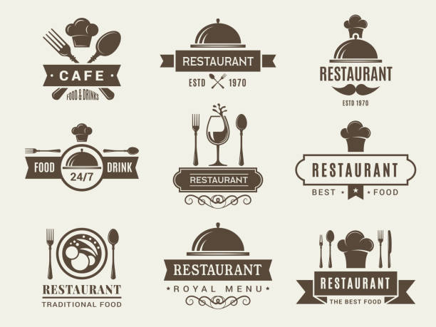 illustrazioni stock, clip art, cartoni animati e icone di tendenza di logotypes and badges for restaurant - coltello posate