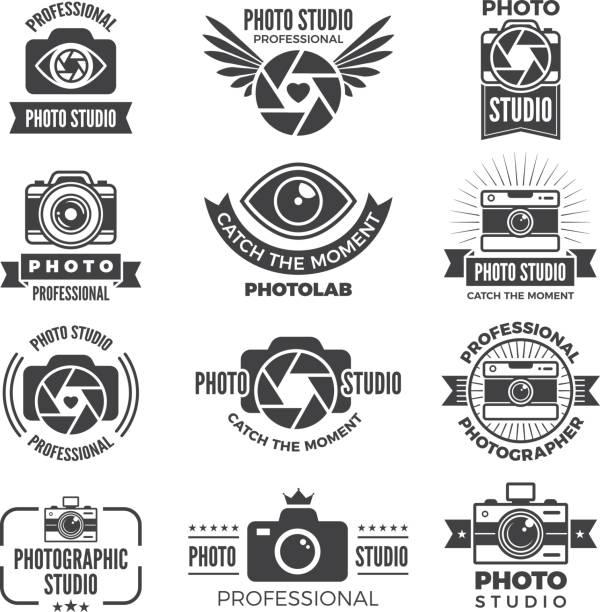 logotypes 및 사진 스튜디오의 상징 - 사진 테마 stock illustrations