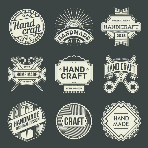 logos hand craft vintage. umriss-insignien. vektor-illustration. dunklen hintergrund. - hausgemacht stock-grafiken, -clipart, -cartoons und -symbole