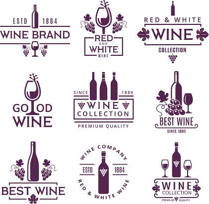 Logotypes or badges of wine brands