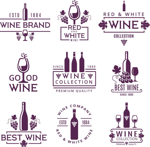 Logotypes or badges of wine brands Logotypes or badges of wine brands. Emblem beverage winery, branding badge company. Vector illustration wine stock illustrations