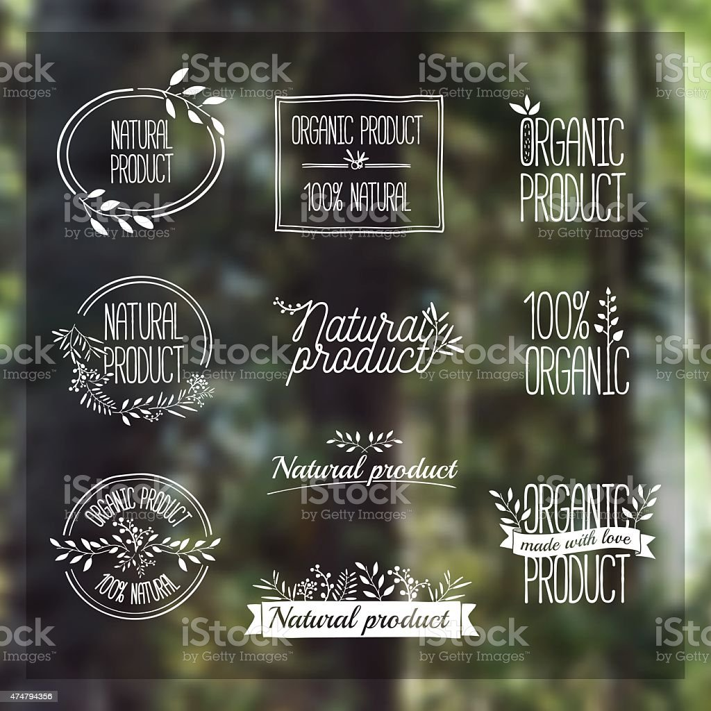 Logotypes set. Organic, bio, ecology, eco natural design template. vector art illustration