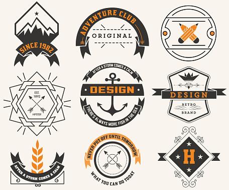 Logotypes set / Vintage Insignias. Vector design elements, logos