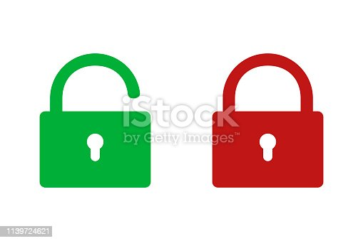 loked and opened locks green and red colors simple isolated signs. EPS 10