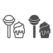Lollipop and ice cream line and solid icon, sweets concept, candy and ice cream sign on white background, lollipop and ice cream icon in outline style for mobile concept Vector graphics
