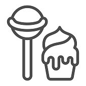 istock Lollipop and ice cream line icon, sweets concept, candy and ice cream sign on white background, lollipop and ice cream icon in outline style for mobile concept Vector graphics. 1282236808