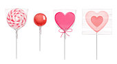 Lollipop in heart shape, spiral and round candies in transparent plastic pack isolated on white background. Vector realistic pink caramel on stick for Valentines day. Wrapped sweets in clear package